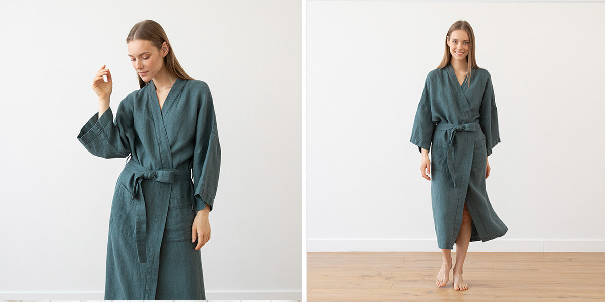 Accappatoio-balsam-green-in-lino-Washed-Waffle