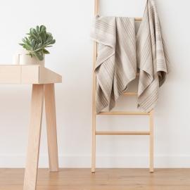 X4 asciugamani da bagno in lino naturale a strisce tessitura huckaback Linum