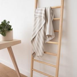 Asciugamano da bagno in lino naturale a strisce tessitura huckaback Lucas