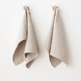 Set di 2 asciugamani per ospiti in lino beige Twill