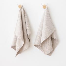 Set di 2 asciugamani per ospiti in cotone e lino naturale Wafer