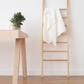 Asciugamano da bagno in lino e cotone bianco panna