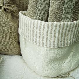 Cesto in lino e cotone beige e bianco Lara
