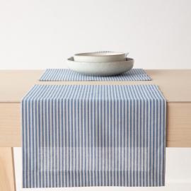 Tovaglietta in lino e cotone blu a strisce Jazz