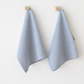 Set di 2 strofinacci da cucina in lino e cotone blu Jazz