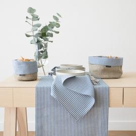 Guida da tavolo in lino e cotone Blue Jazz