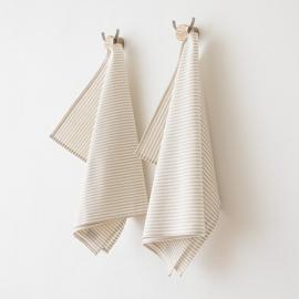 Set di 2 strofinacci da cucina in lino e cotone beige Jazz