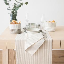 Guida da tavolo in lino e cotone beige Jazz