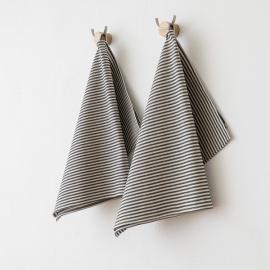 Set di 2 strofinacci da cucina in lino e cotone nero Jazz