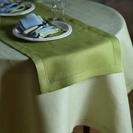 Guida da tavolo in lino verde foresta pluviale Emilia