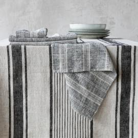 Black Naturale Tovagliolo in Lino Multistripe