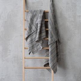 Asciugamano da bagno in lino nero Multistripe