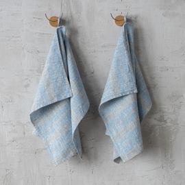 Set di 2 Blu e Naturale Asciugamanida Mano in Lino Multistripe