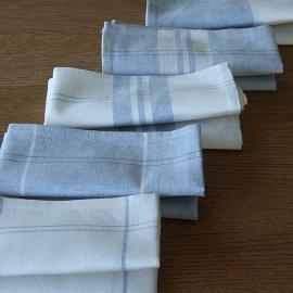 Set di 2 strofinacci in lino e cotone blu due Florence