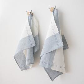 Set di 2 strofinacci in lino e cotone blu cinque Florence
