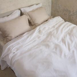 Set di biancheria da letto in lino bianco ottico orlato Hemstitch