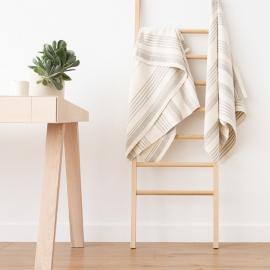 Asciugamano da bagno in lino crema tessitura huckaback Linum