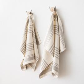 Set di 2 asciugamaniper ospiti in lino crema Linum