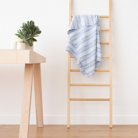 Asciugamano da bagno in lino blu e bianco Multistripe