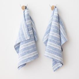 Set di 2 Blu e Bianco Asciugamanida Mano in Lino Multistripe