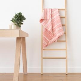Asciugamano da bagno in lino rosso e bianco Multistripe
