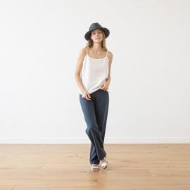 Pantaloni in lino indaco Alma