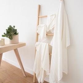 Set di asciugamani da bagno in lino strisce biache Lucas