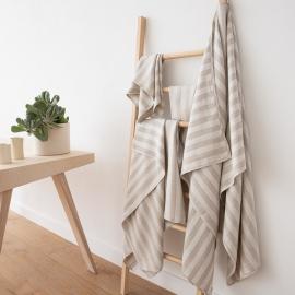 Set di asciugamani da bagno in lino strisce naturali Lucas
