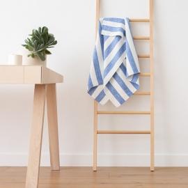 Bianco Panna Blu Asciugamano da bagno in Lino Philippe