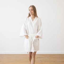 Vestaglia corta in lino bianco Alma