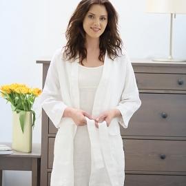 Camicia da notte in lino color bianco Spaghetti