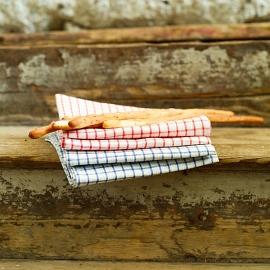 Set di 2 strofinacci da cucina in lino bianco e blu Gingham