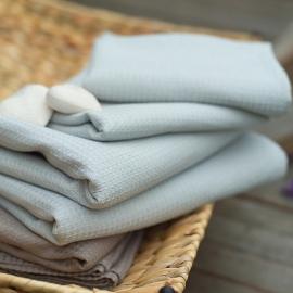 Set di 2 asciugamaniper ospiti in lino e cotone argento Wafer