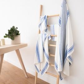 Set di Bianco Panna Blu Asciugamani da Bagno in Lino Tuscany