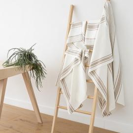 Set di asciugamani da bagno in lino bianco panna e grigio Tuscany