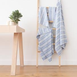Set di Blu e Bianco Asciugamani da Bagno in Lino Multistripe