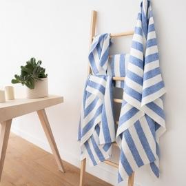 Set di Bianco Panna Grigio Asciugamani da Bagno in Lino Philippe