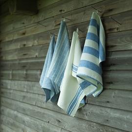 Set di 4 asciugamanida mano in lino blu Striped