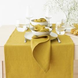 Guida da tavolo in lino color limone Lara
