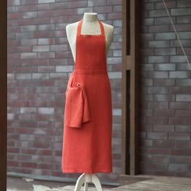 Grembiule in lino color arancione Lara