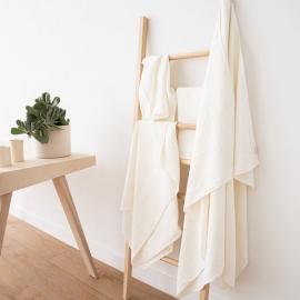 Set di 2 asciugamani per ospiti in lino bianco panna Rhomb Damask