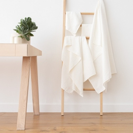 Set di asciugamani da bagno in lino e cotone bianco panna Wafer