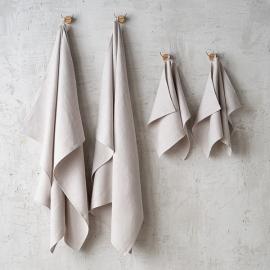 Set di 2 Asciugamani da Mano in Lino Argento Washed Waffle