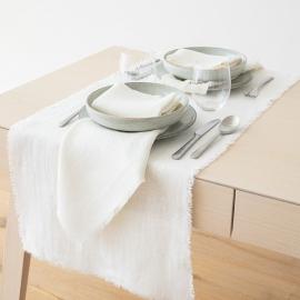 Guida da tavolo in lino bianco panna Rustic