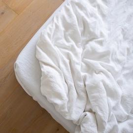 Bianco Ottico Lenzuolo con Angoli in Lino Stone Washed