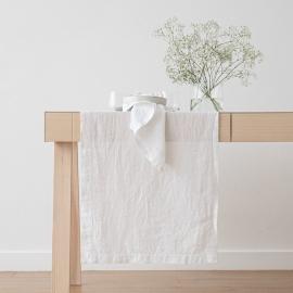 Guida da tavolo in lino bianco ottico Stone Washed