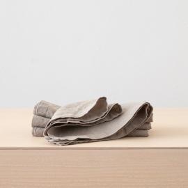 Tovagliolo in lino grigio talpa Stone Washed