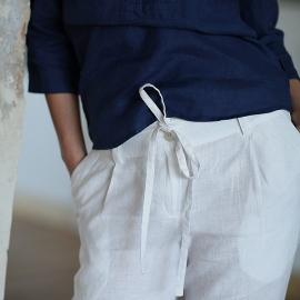 Pantaloni in lino bianco Daniela