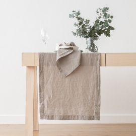 Guida da tavolo in lino grigio talpa Stone Washed
