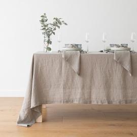 Tovaglia in lino grigio talpa Stone Washed